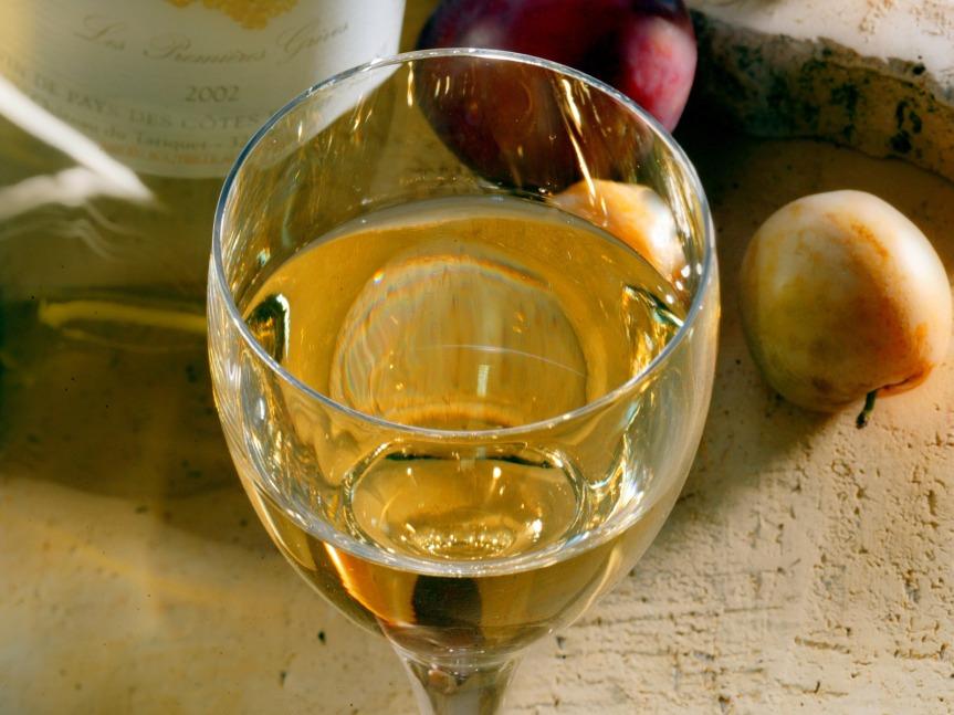 Vin blanc Côtes de Gascogne. A déguster avec modération.