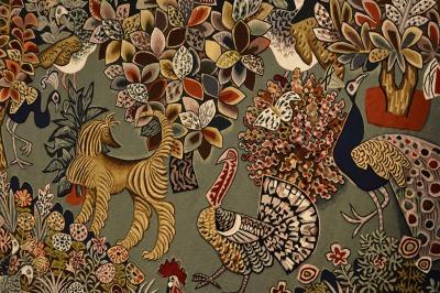 L'art de Dom Robert consistait à concevoir les cartons (à l'échelle 1) qui servaient ensuite de guides pour le tissage dans les ateliers d'Aubusson.